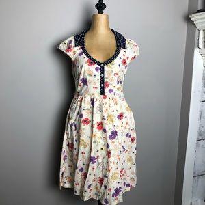 Anthropologie Viola polka dot collar floral dress